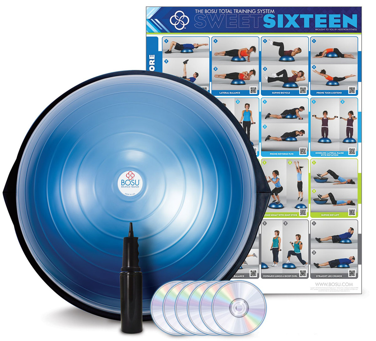 BOSU¨ HOME Balance Trainer with wall chart and 6 workout DVDs