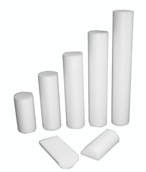 """CanDo¨ Foam Roller - White PE foam - 6"""" x 30"""" - Half-Round"""