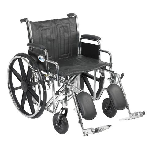 "Sentra EC Heavy Duty Wheelchair, Detachable Desk Arms, Elevating Leg Rests, 22"" Seat"