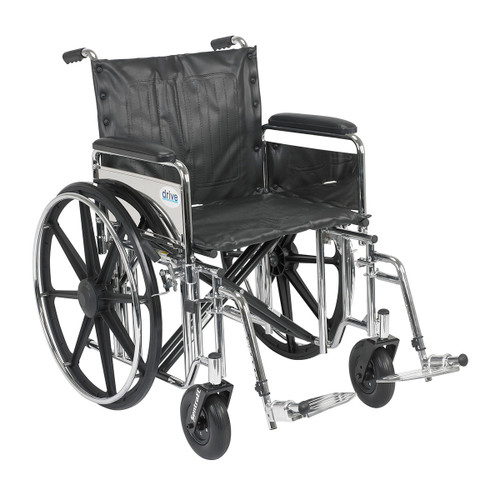 """Sentra Extra Heavy Duty Wheelchair, Detachable Desk Arms, Swing away Footrests, 24"""" Seat"""
