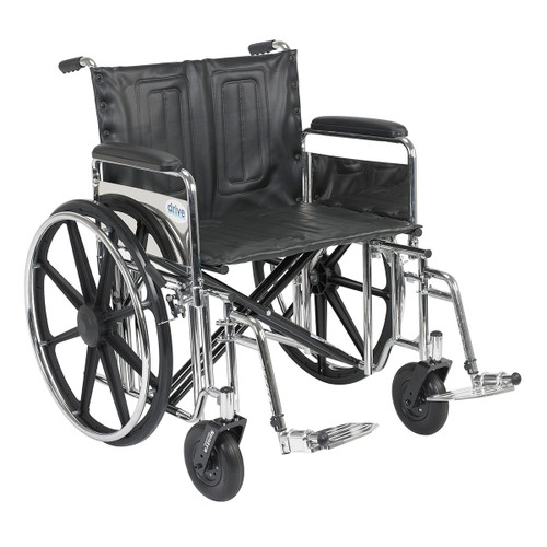 "Sentra Extra Heavy Duty Wheelchair, Detachable Full Arms, Swing away Footrests, 24"" Seat"