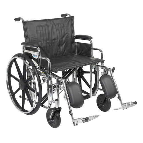 "Sentra Extra Heavy Duty Wheelchair, Detachable Desk Arms, Elevating Leg Rests, 24""Seat"