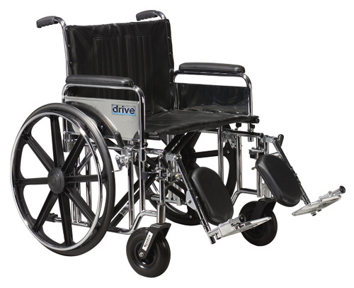 """Sentra Extra Heavy Duty Wheelchair, Detachable Full Arms, Elevating Leg Rests, 24"""" Seat"""
