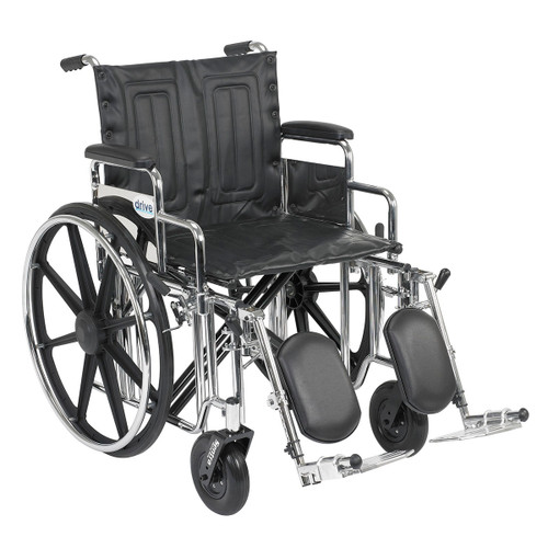 """Sentra Extra Heavy Duty Wheelchair, Detachable Desk Arms, Elevating Leg Rests, 20"""" Seat"""