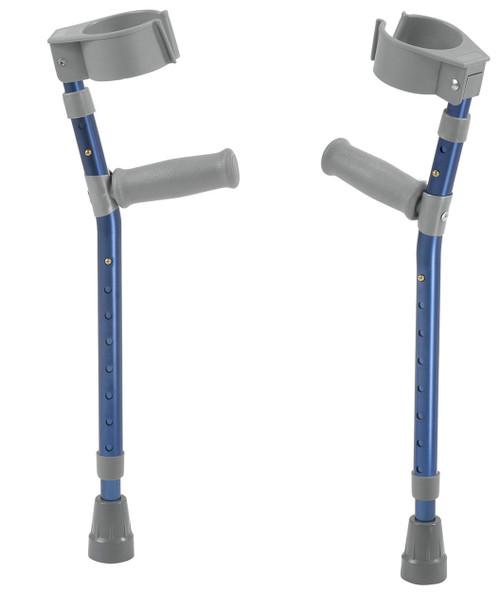 "Pediatric forearm crutches, pair, small (15"" to 22"" grip height), blue"