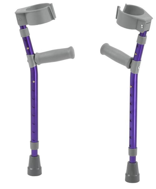 "Pediatric forearm crutches, pair, small (15"" to 22"" grip height), purple"