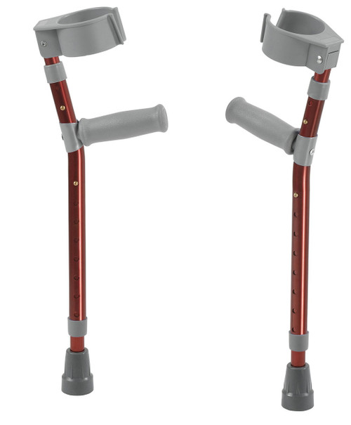 """Pediatric forearm crutches, pair, small (15"""" to 22"""" grip height), red"""