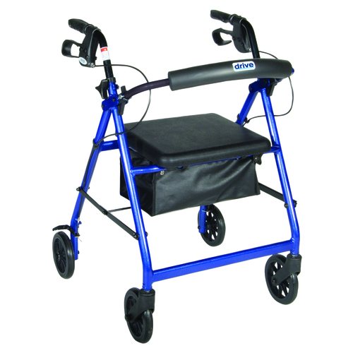 4-wheel Rollator with loop brake, blue, 1 each