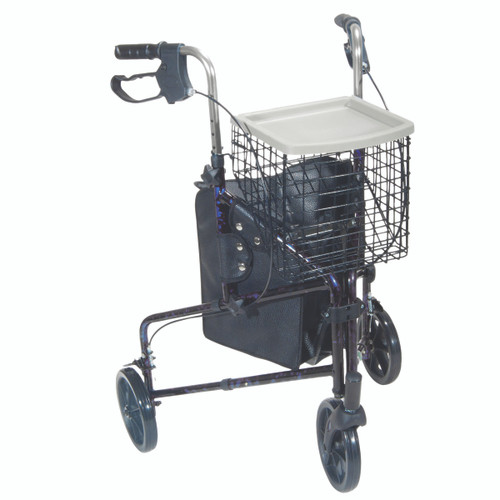 3-wheel Rollator with loop brake, blue, 1 each