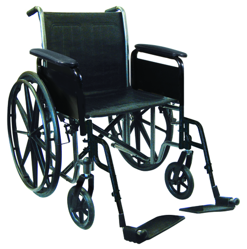 "18"" wheelchair with removable desk armrest, swing away footrest"