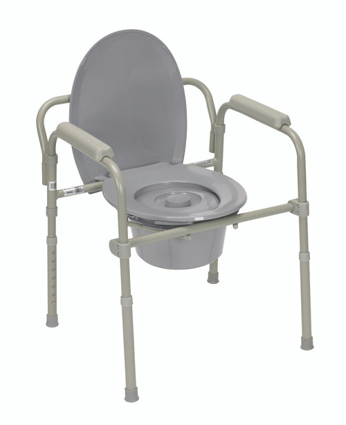 Commode with fixed arms, aluminum, adjustable height, 1 each