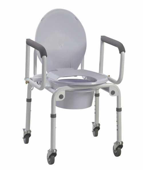 Commode with drop arms, wheels, aluminum, 2 each