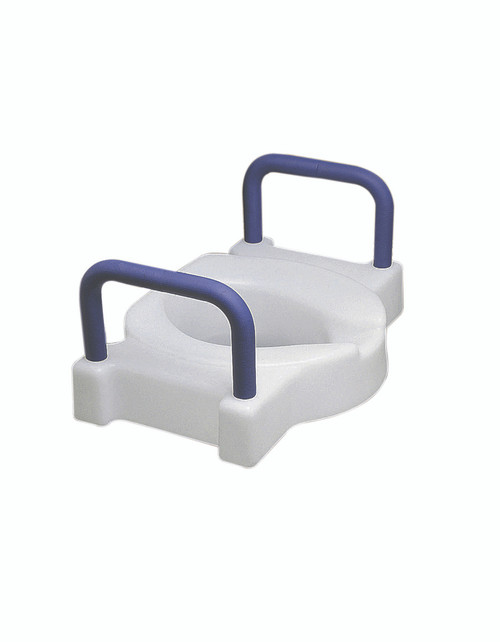 Elevated toilet seat with arms, extra wide