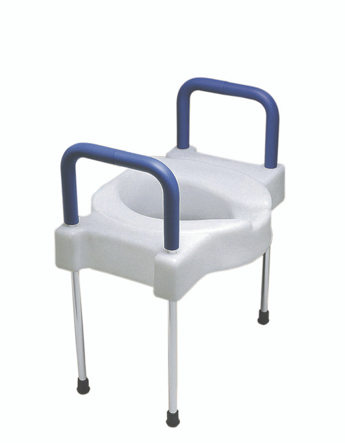 Elevated toilet seat with arms and legs, extra wide