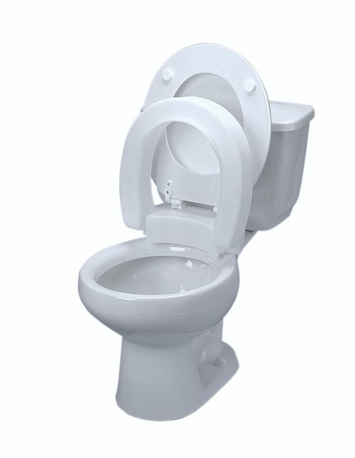 Elevated toilet seat , hinged