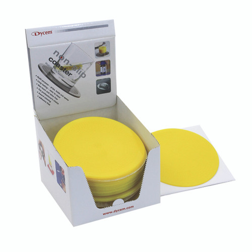 "Dycem¨ 5.5"" round table mat display, 25/dispenser, yellow"