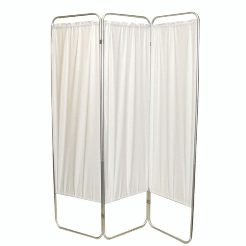 """Standard 3-Panel Privacy Screen - White 6 mil vinyl, 48"""" W x 68"""" H extended, 19"""" W x 68"""" H x2.5"""" D folded"""