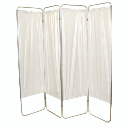 """Standard 4-Panel Privacy Screen - White 6 mil vinyl, 62"""" W x 68"""" H extended, 19"""" W x 68"""" H x3.25"""" D folded"""