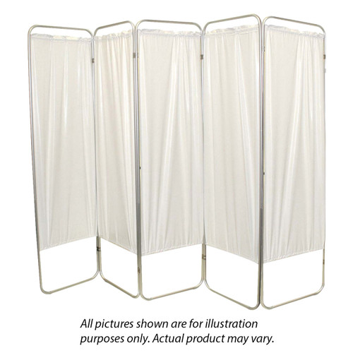 "Standard 5-Panel Privacy Screen - White 6 mil vinyl, 84"" W x 68"" H extended, 19"" W x 68"" H x4"" D folded"
