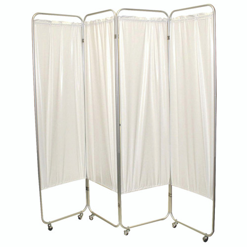 """Standard 3-Panel Privacy Screen with casters - White 6 mil vinyl, 48"""" W x 68"""" H extended, 19"""" W x 68"""" H x2.5"""" D folded"""
