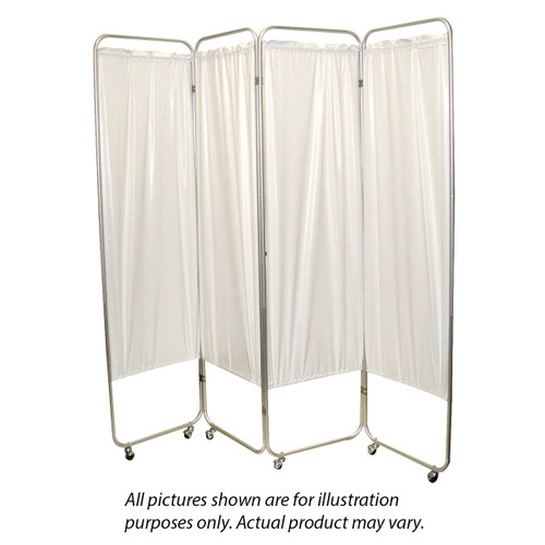 "Standard 4-Panel Privacy Screen with casters - White 6 mil vinyl, 62"" W x 68"" H extended, 19"" W x 68"" H x3.25"" D folded"