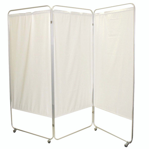 "King size 3-Panel Privacy Screen with casters - Green 6 mil vinyl, 85"" W x 68"" H extended, 31"" W x 68"" H x2.5"" D folded"