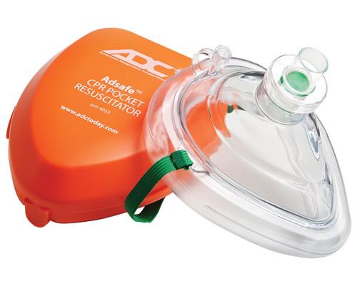 ADC Adsafe CPR Pocket Resuscitator, Adult, Orange, w/ Case