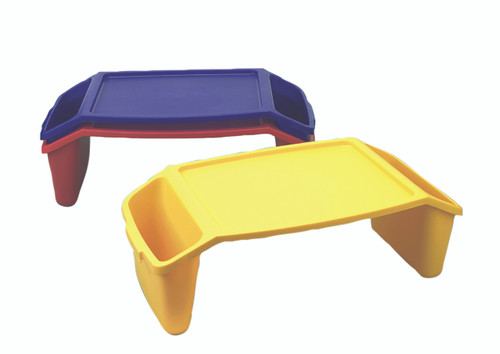 Plastic bed tray with side pockets