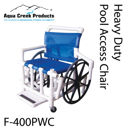 "Pool Access Chair, 24"" mesh seat, 425 lb capacity"