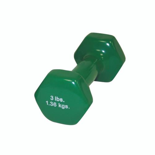 CanDo¨ vinyl coated dumbbell - 3 lb - Green, each