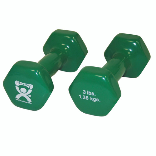 CanDo¨ vinyl coated dumbbell - 3 lb - Green, pair