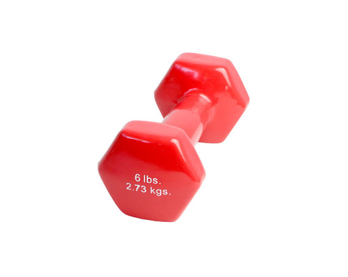 CanDo¨ vinyl coated dumbbell - 6 lb. - Red, each