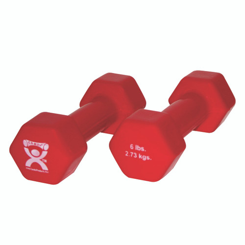 CanDo¨ vinyl coated dumbbell - 6 lb - Red, pair