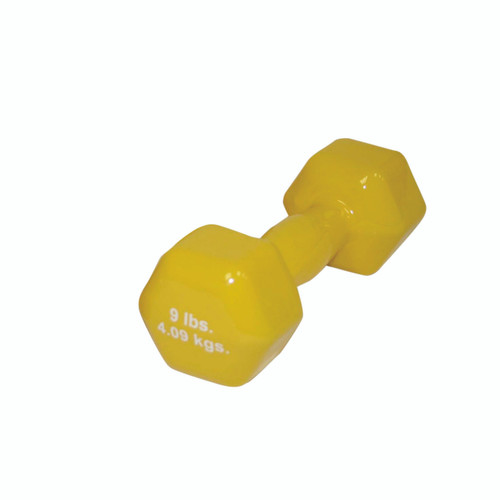 CanDo¨ vinyl coated dumbbell - 9 lb - Yellow, each