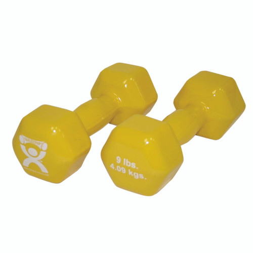 CanDo¨ vinyl coated dumbbell - 9 lb - Yellow, pair