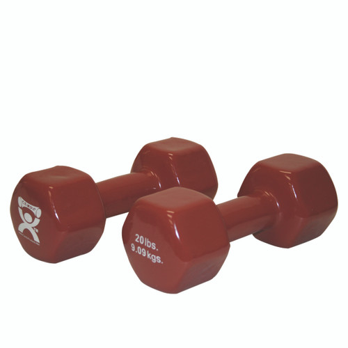 CanDo¨ vinyl coated dumbbell - 20 lb - Brown, pair