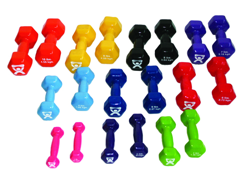 CanDo¨ vinyl coated dumbbell - 10-piece set - 2 each 1, 2, 3, 4, 5
