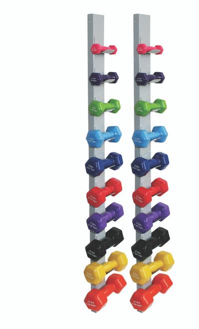 CanDo¨ vinyl coated dumbbell - 20-piece set with 2 Wall Racks - 2 each 1, 2, 3, 4, 5, 6, 7, 8, 9, 10