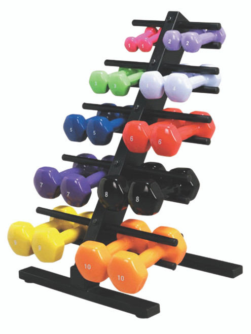CanDo¨ vinyl coated dumbbell - 10-piece set with Floor Rack - 2 each 1, 2, 3, 4, 5