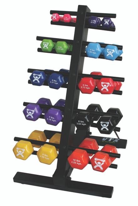 CanDo¨ vinyl coated dumbbell - 20-piece set with Floor Rack - 2 each 1, 2, 3, 4, 5, 6, 7, 8, 9, 10