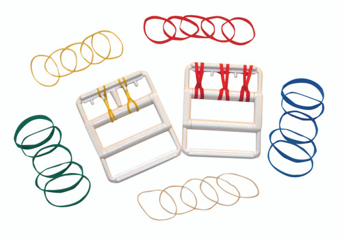CanDo¨ Latex Free rubber-band hand exerciser, with 25 bands (5 each: tan, yellow, red, green, blue)