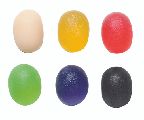CanDo¨ Gel Squeeze Ball - Large Cylindrical - 6-piece set (tan, yellow, red, green, blue, black)