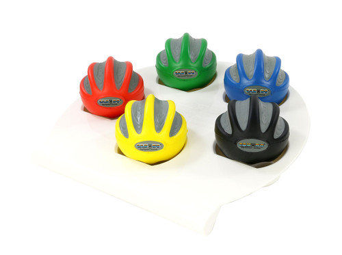 CanDo¨ Digi-Squeeze¨ hand exerciser - Medium - set of 5 pieces (yellow, red, green, blue, black), with rack