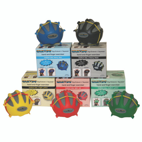 CanDo¨ Digi-Extend n' Squeeze¨ Hand Exerciser - Small - 5-piece set (yellow, red, green, blue, black), no stand