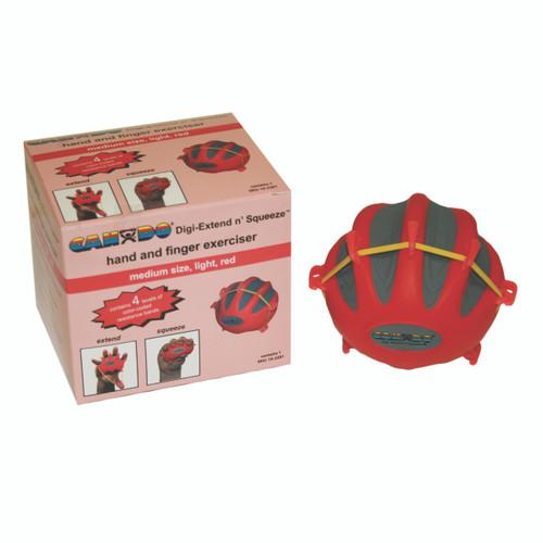 CanDo¨ Digi-Extend n' Squeeze¨ Hand Exerciser - Medium - Red, light
