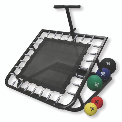 Adjustable Ball Rebounder - Set with Rectangular Rebounder, 1-tier Horizontal Plastic Rack, 5-balls (1 each: 2,4,7,11,15 lb)
