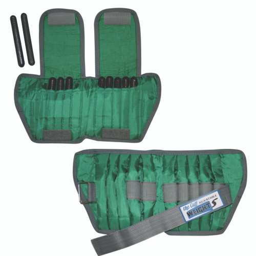 The Adjustable Cuff¨ ankle weight - 5 lb - 10 x 0.5 lb inserts - Green - pair