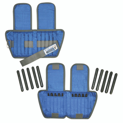 The Adjustable Cuff¨ ankle weight - 10 lb - 20 x 0.5 lb inserts - Blue - pair