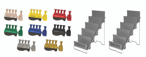 Digi-Flex Thumb¨ - Set of 8 (1 each: tan, yellow, red, green, blue, black, silver, gold), with 2 metal stands