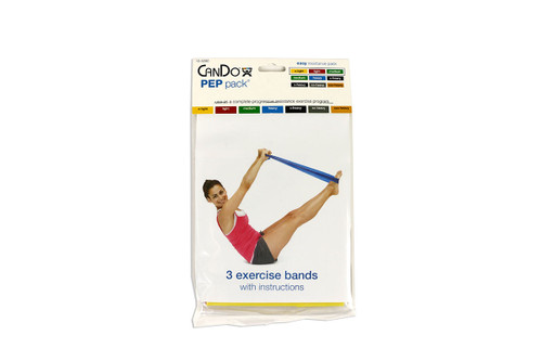 CanDo¨ Low Powder Exercise Band Pepª Pack - Easy with yellow, red and green band
